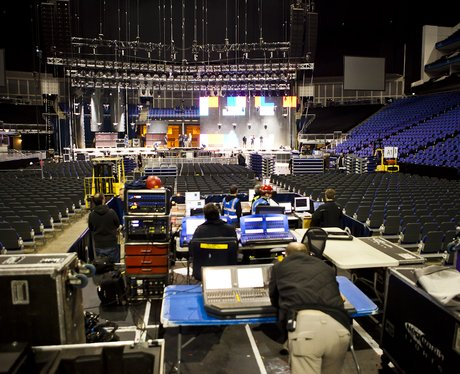 Crew working behind the scenes at the O2 Arena for the 2011 Jingle Bell Ball