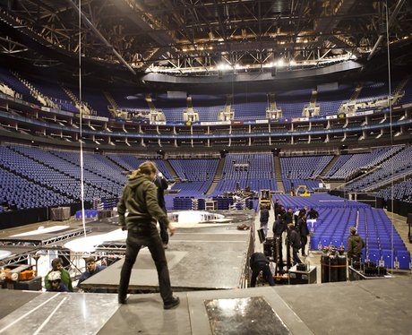 Crew on stage at the Jingle Bell Ball