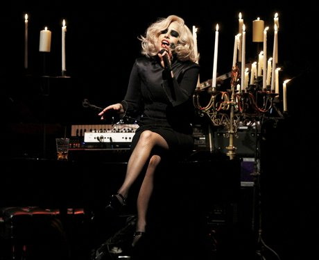 Lady Gaga performing live on stage