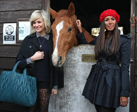 Leona Lewis and Pixie Lott at an animal sanctuary