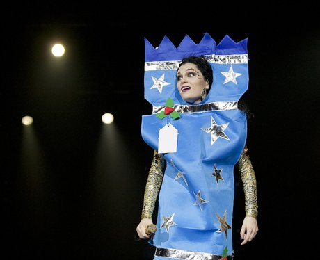 Jessie J live at the 2011 Jingle Bell Ball dressed as a Christmas cracker