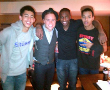 Loik Essien with Olly Murs and Rizzle Kicks