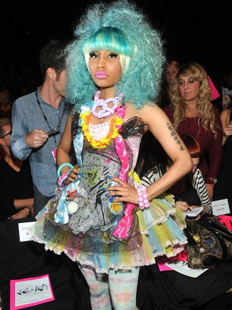 Nicki Minaj wears blue wig at Betsey Johnson Spring 2011 fashion show