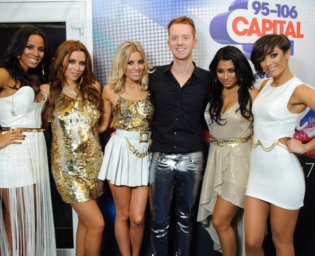 The Saturdays with James Barr backstage at the 2011 Jingle Bell Ball