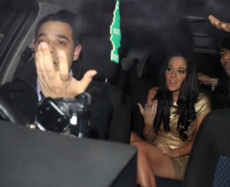 Tulisa leaving the X Factor wrap party