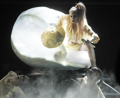 Lady Gaga hatches from an egg at the Grammy Awards