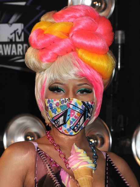 Nicki Minaj wearing mask