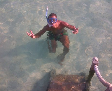 Marvin Humes in the sea in Caribian