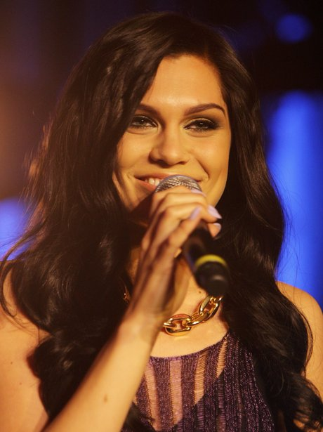 Jessie J on stage at the 2012 BRIT awards nominations concert