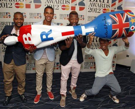 JLS backstage at the BRIT 2012 Awards Nominations