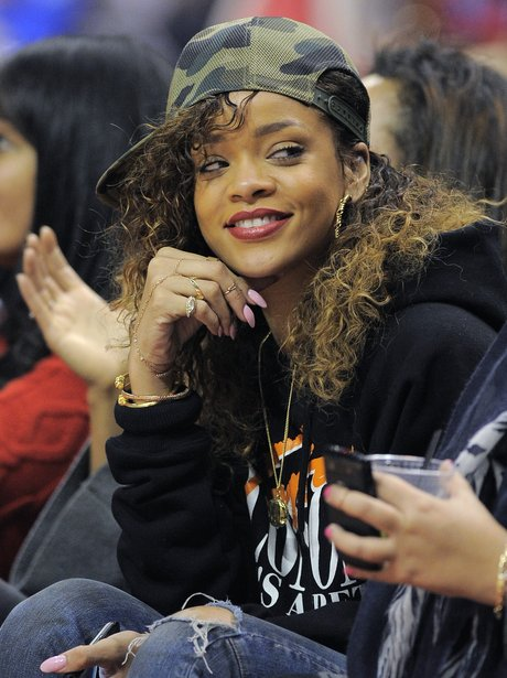 Rihanna at the Los Angeles Clippers Basketball game