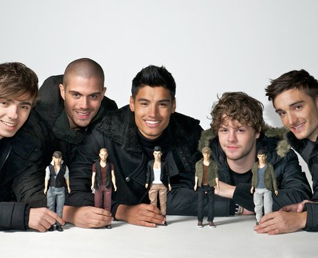 The Wanted pose with their toy dolls