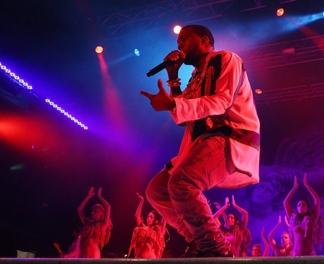 Kanye West performs live.