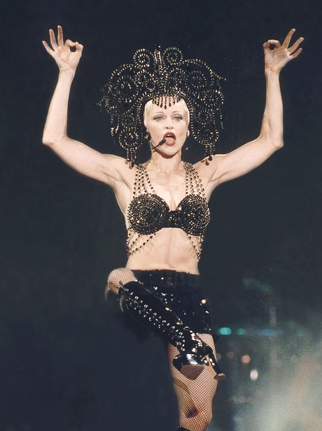 Madonna perfroms on stage in 1990