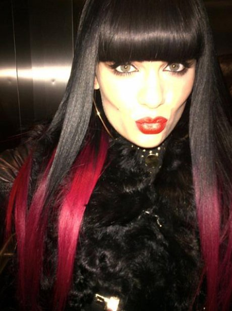 Jessie J with two two red and black hair