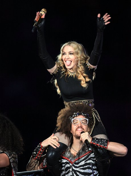 Madonna and LMFAO performs at Super Bowl 2012