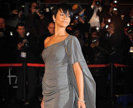 Rihanna with short dark brown hair