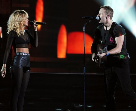 Rihanna and Coldplay live at the Grammy Awards
