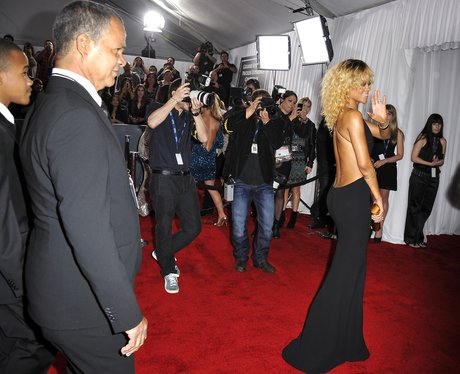 Rihanna on the red carpet at the Grammy Awards 201