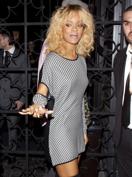 Rihanna wears a mini dress in Hollywood