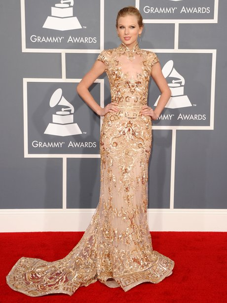 Taylor Swift on the red carpet at the Grammy Award