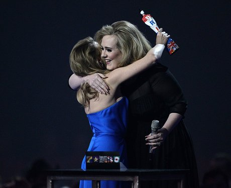 Kylie Minogue and Adele At The BRIT Awards 2012