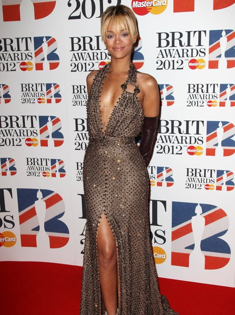Rihanna attends the BRIT Awards 2012