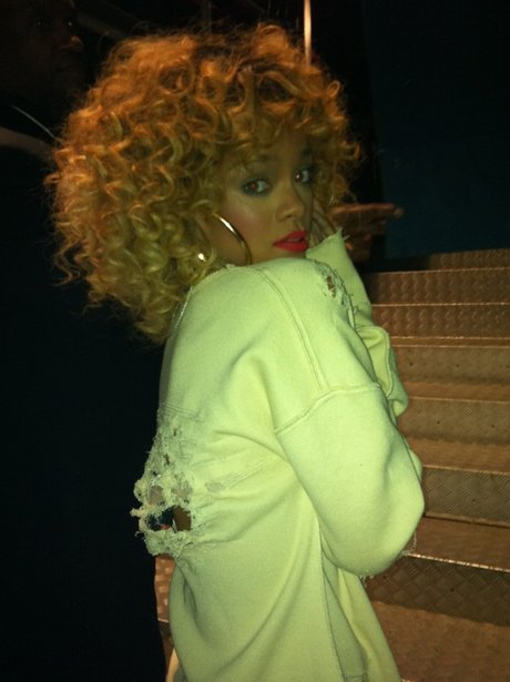 Rihanna with new blonde hair