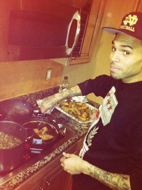 Chris Brown cooking food
