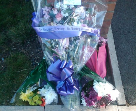 Flowers left at the House of PC David Rathband