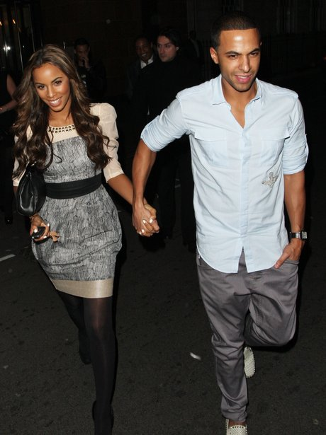 Rochelle Wiseman and Marvin Humes leaving a restaurant together