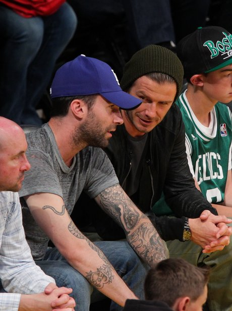 David Beckham and Adam Levine at the basketball
