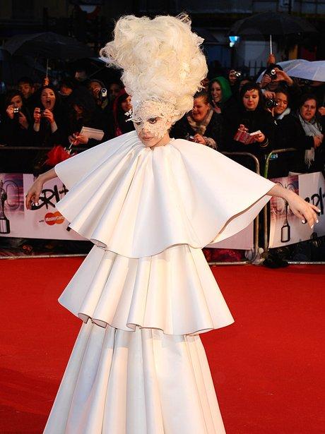Lady Gaga at the 2010 BRIT Awards.