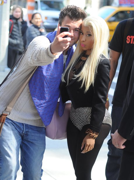 Nicki MInaj wiht a fan in New York