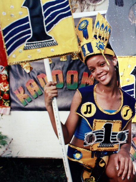 Rihanna is pictured at carnival when she was younger