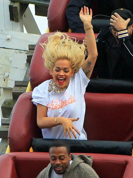 Rita Ora on a rollercoater