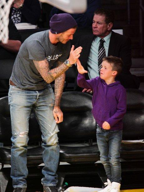 David and Cruz Beckham at The Lakes Game