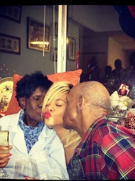 Rihanna with her grandparents