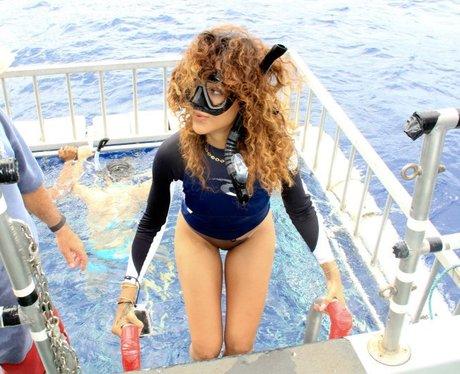 Rihanna wearing a snorkel on holiday.