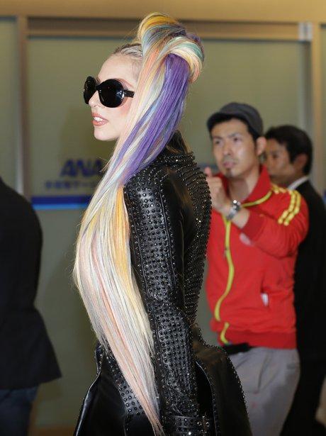 Lady Gaga wiht multi coloured hair