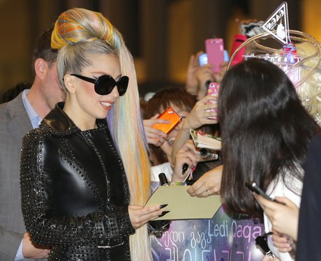 Lady Gaga wiht multi coloured hair