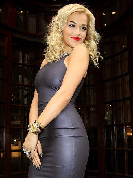 Rita Ora wears a rubber dress