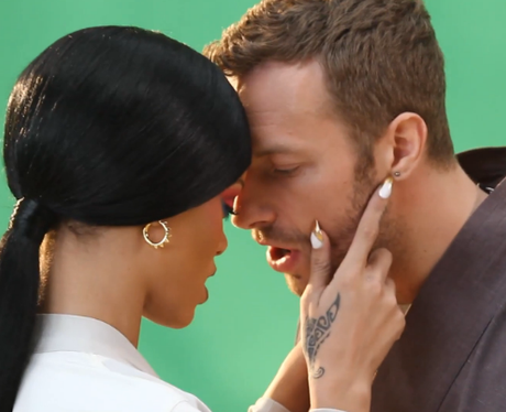 Rihanna and Chris Martin on the set of 'Princess Of China'