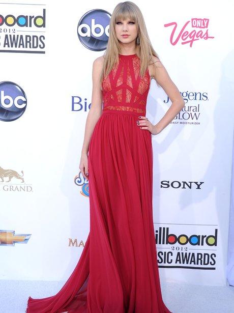 taylor Swift wearing a red dress