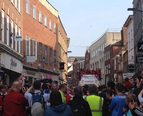 York city promotion bus parade