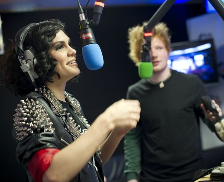Jessie J and Ed Sheeran backstage at the Summertim