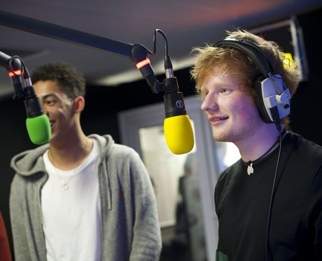 Rizzle Kicks and Ed Sheeran backstage at the Summe