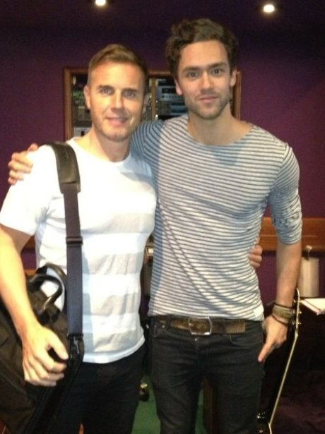 Lawson's Andy Brown and Gary Barlow in the recording studio