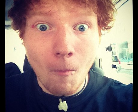 Ed Sheeran pulls a face on Twitter