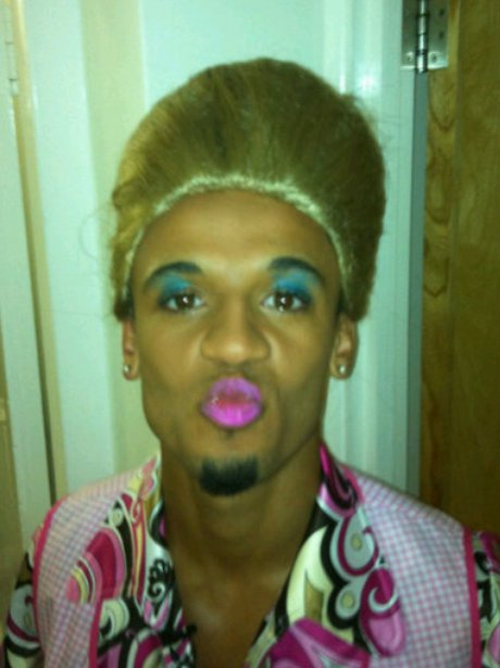 JLS star Aston Merrygold dressed as a woman